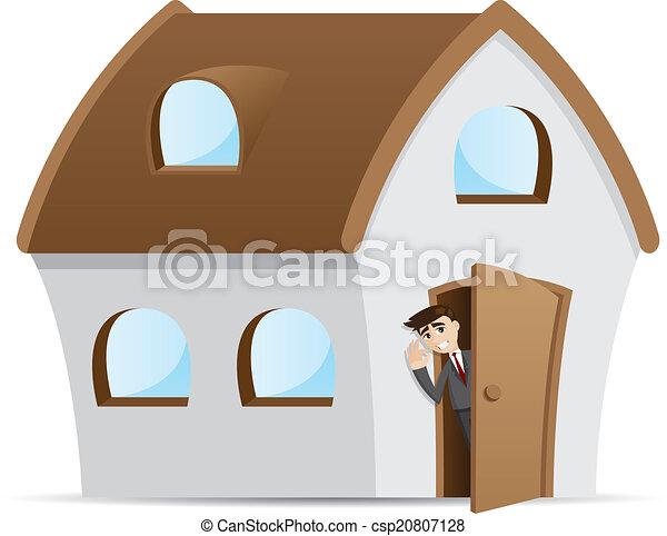 Un empresario de dibujos animados abre la puerta de la casa - csp20807128