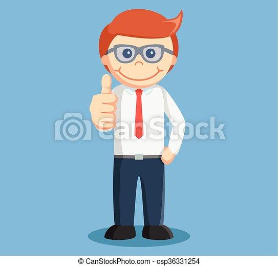 Hombre de negocios con pulgares arriba - csp36331254