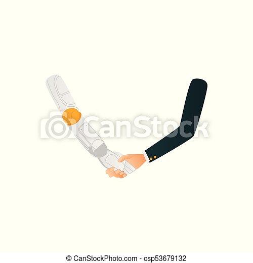 Hombre, hombre de negocios y robot dándose la mano - csp53679132