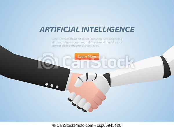 Hombre de negocios y robot dándose la mano - csp65945120