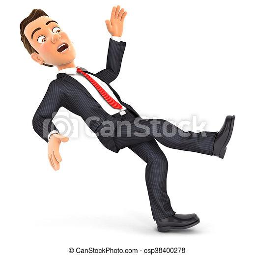 Hombre de negocios 3D resbalando y cayendo - csp38400278
