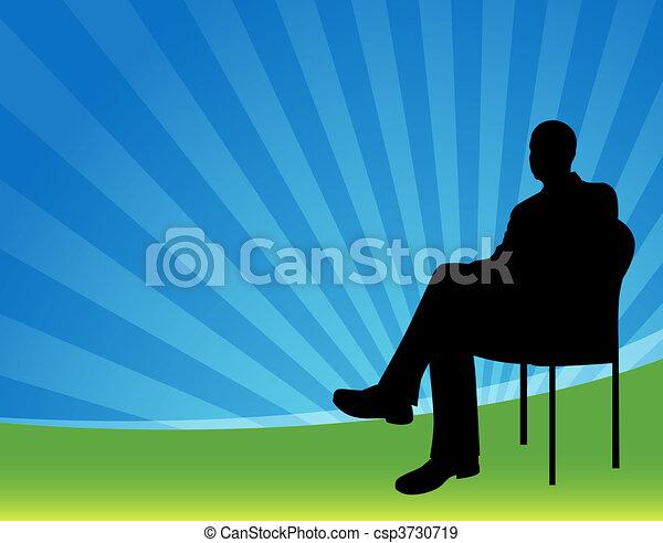 hombre de negocios, sentado - csp3730719