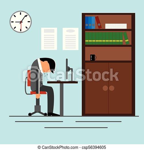 Un hombre de negocios cansado durmiendo en la oficina - csp56394605