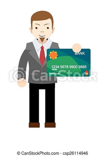 Un empresario con una tarjeta bancaria - csp26114946
