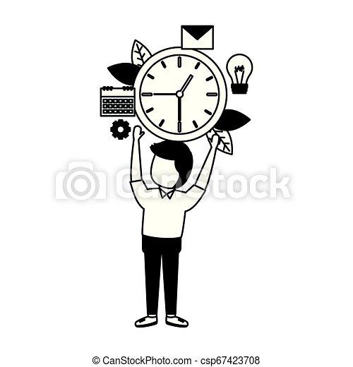 Hombre de negocios sosteniendo el reloj - csp67423708