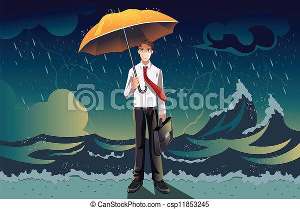 Hombre de negocios en una tormenta - csp11853245