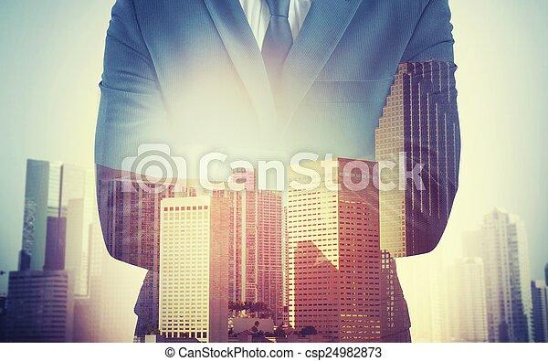 hombre de negocios, trabajo, compromiso - csp24982873