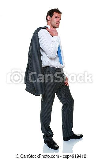 El traje de rayas grises del empresario está aislado - csp4919412