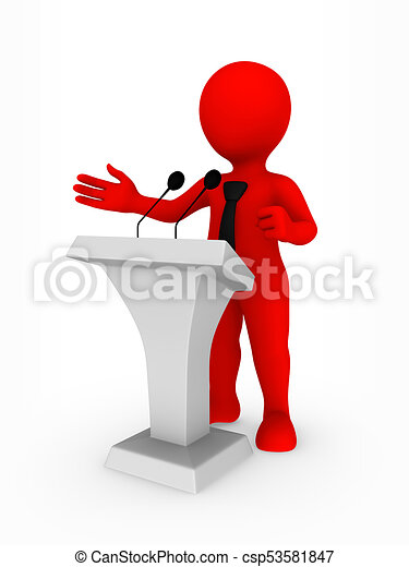 Hombre de negocios, tribune, oratoria, 3d.