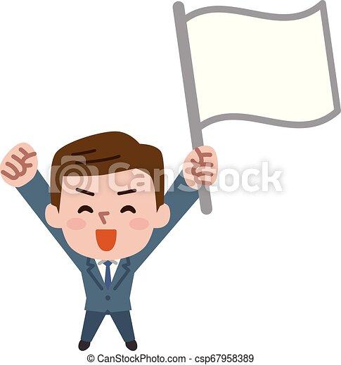 Empresario sosteniendo bandera, ilustración vectorial. - csp67958389