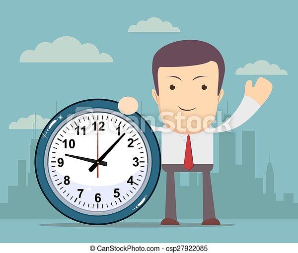 Hombre de negocios sosteniendo un reloj, ilustración vectorial - csp27922085