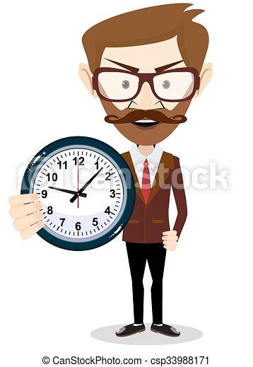 hombre de negocios, vector, reloj, tenencia, ilustración - csp33988171