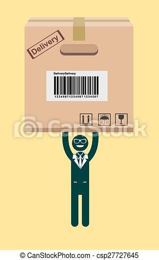 hombre de negocios, vector, tenencia, package. - csp27727645