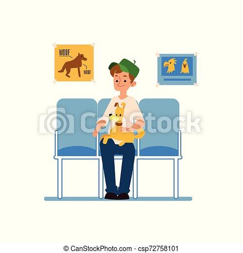 Un hombre con su perro está sentado esperando una recepción en la clínica veterinaria. - csp72758101