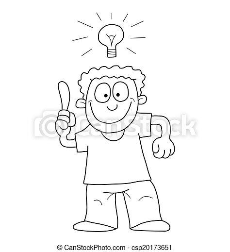 Hombre de dibujos animados con idea - csp20173651