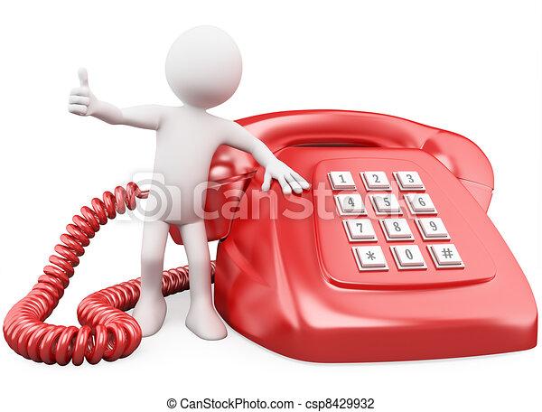 Hombre 3D con un enorme teléfono rojo - csp8429932