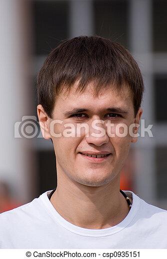hombre, joven, cara - csp0935151