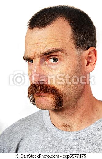 hombre, levantar, bigote, ceja, uno - csp5577175