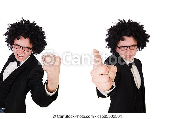 hombre, llevando, peluca, afro, joven - csp85502564