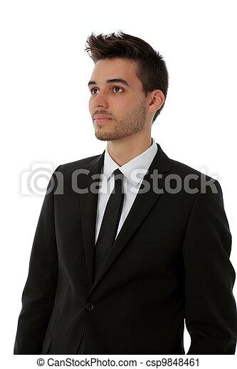 Un joven con traje negro - csp9848461