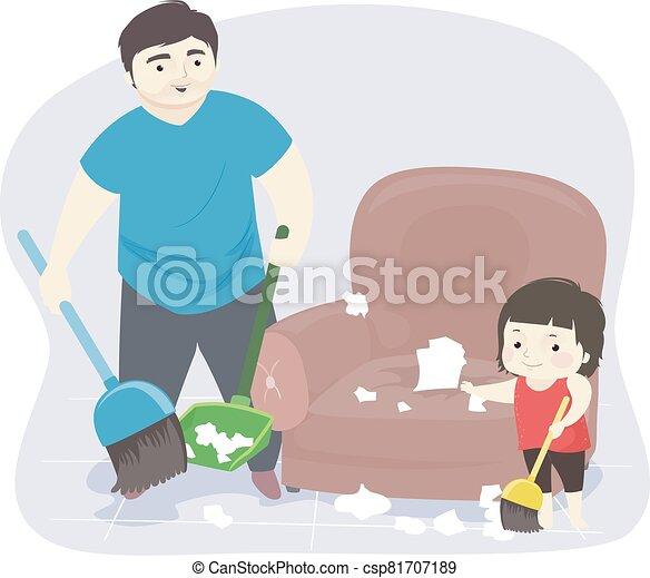 hombre, niño, ilustración, lío, limpieza, niña, papá - csp81707189