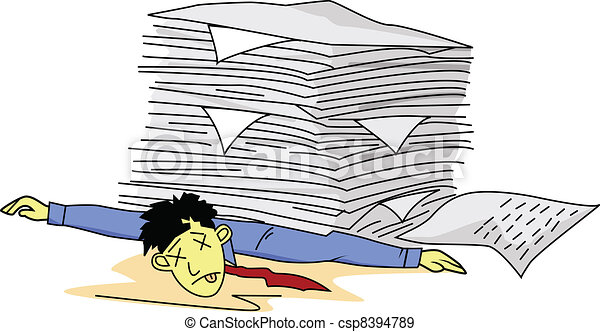 hombre, papeleo, cansado, debajo - csp8394789