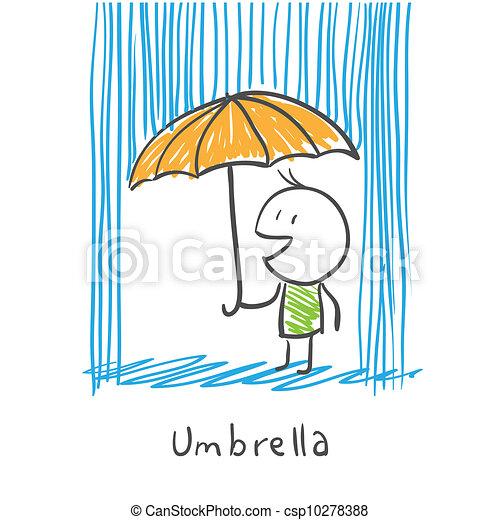 Hombre con paraguas bajo lluvia - csp10278388