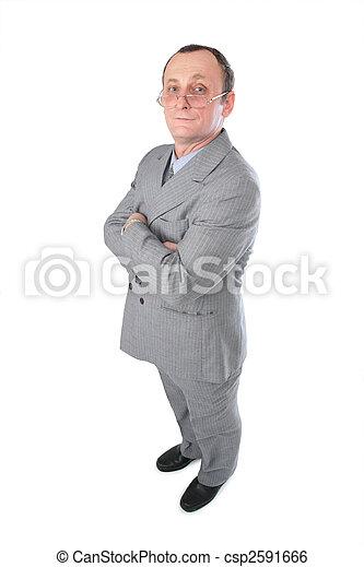 Hombre con traje gris posando - csp2591666