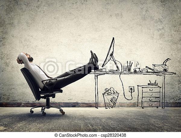 hombre, relajar, -, oficina, sentado - csp28320438