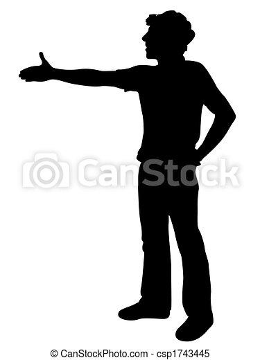 Un joven ofreciendo estrechar la mano - csp1743445