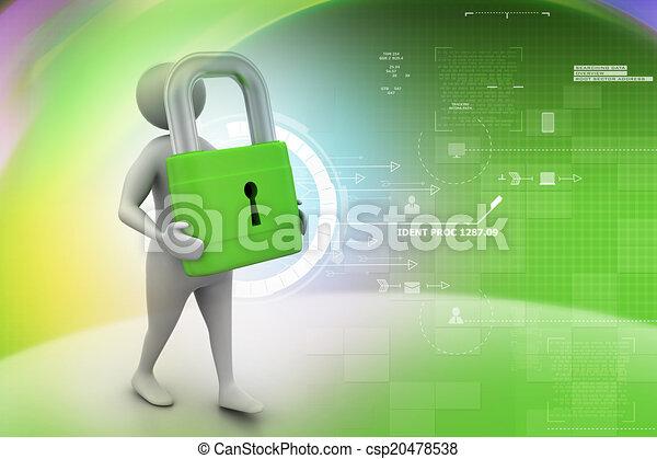 Hombre 3D con candado, concepto de seguridad - csp20478538