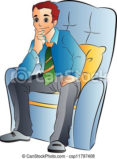 hombre, silla, suave, ilustración, sentado - csp11797408