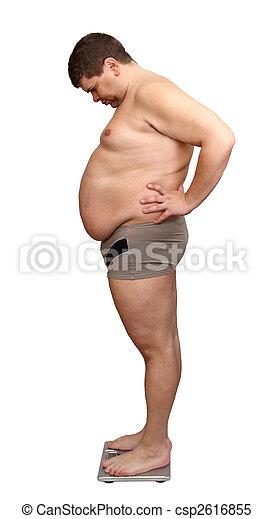 hombre, sobrepeso, escalas - csp2616855