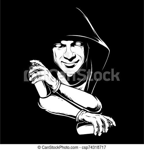 hombre, vector, dibujo, rociar, mano, pintura, tenencia - csp74318717