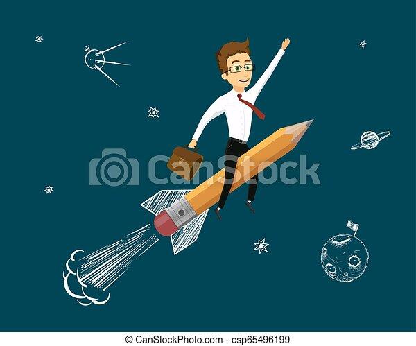 Hombre de traje volando en un cohete hacia las estrellas - csp65496199