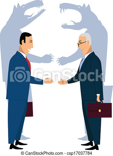 Engañando a hombres de negocios estrechando la mano - csp17037784