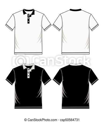 Polo masculino (front and back View) en blanco y negro. - csp50564731