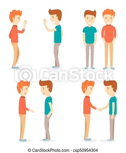 Dos hombres felices, dos hombres, hablando, dos hombres estrechando la mano, conociendo, dos hombres intercambiaban saludos, un joven personaje, un personaje encantador, un hombre aislado en el fondo blanco - csp50954304