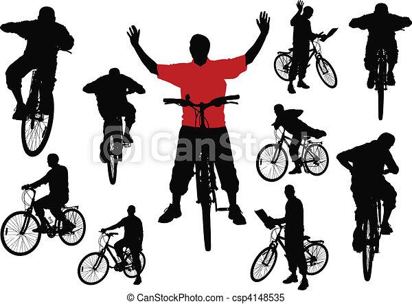 Diez hombres en bicicleta. Vector ilus - csp4148535