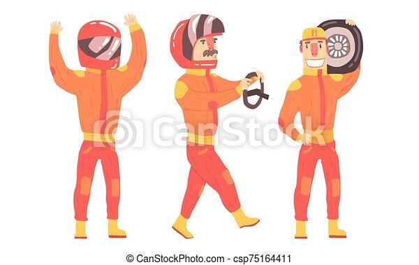 hombres, suits., vector, naranja, jinete, ilustración - csp75164411