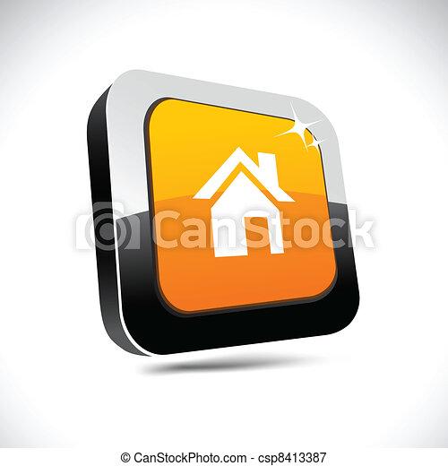 Home 3d square button. - csp8413387