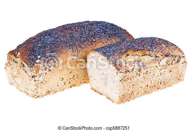 Home a loaf of rye bread with seeds and poppy seeds - csp5887251