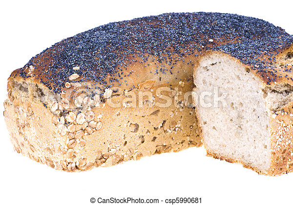 Home a loaf of rye bread with seeds and poppy seeds - csp5990681