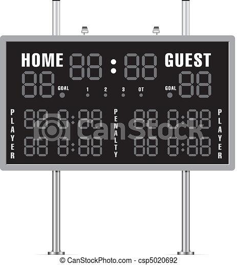 home and guest scoreboard for american football rh canstockphoto com scoreboard clip art free basketball scoreboard clipart