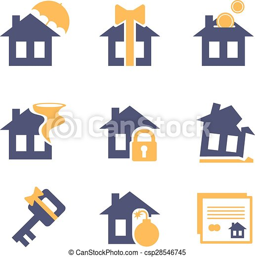 Home and House Insurance Risk Icons  - csp28546745