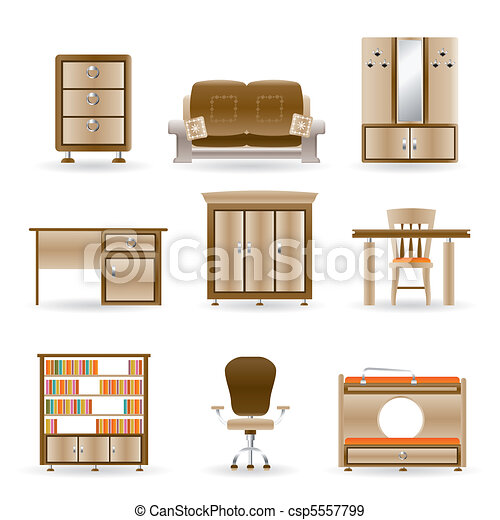Home And Office Furniture Vector
