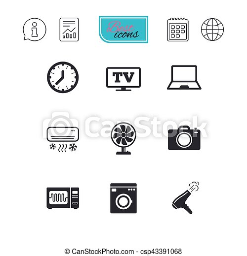 Home appliances, device icons. Electronics sign. - csp43391068