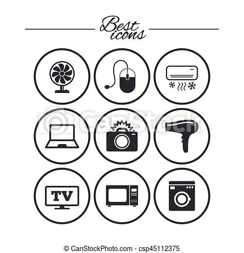 Home appliances, device icons. electronics sign. Home appliances ...