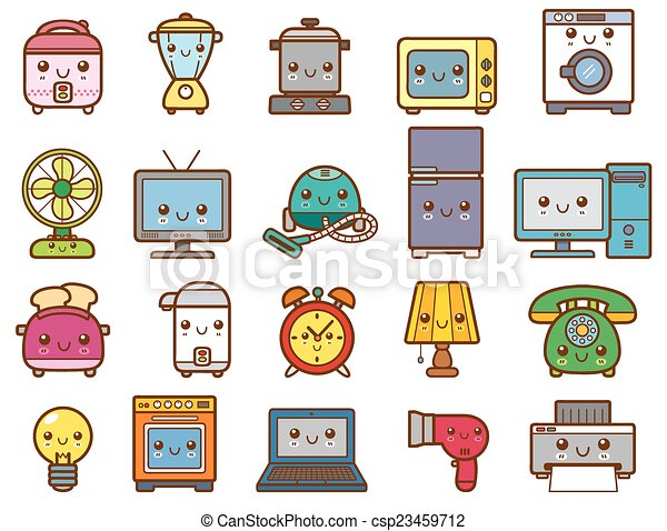 Vector Illustration Of Home Appliances And Electronics Clip
