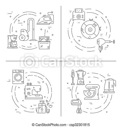 Home Appliances Collection Of House Appliances Arranged In Circles Great Graphic For Announcement Advertisement Flyer Or